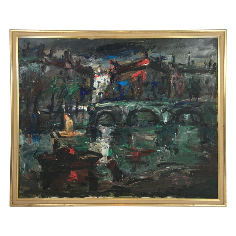 Oil on Canvas Painting, Signed, circa 1960 For Sale