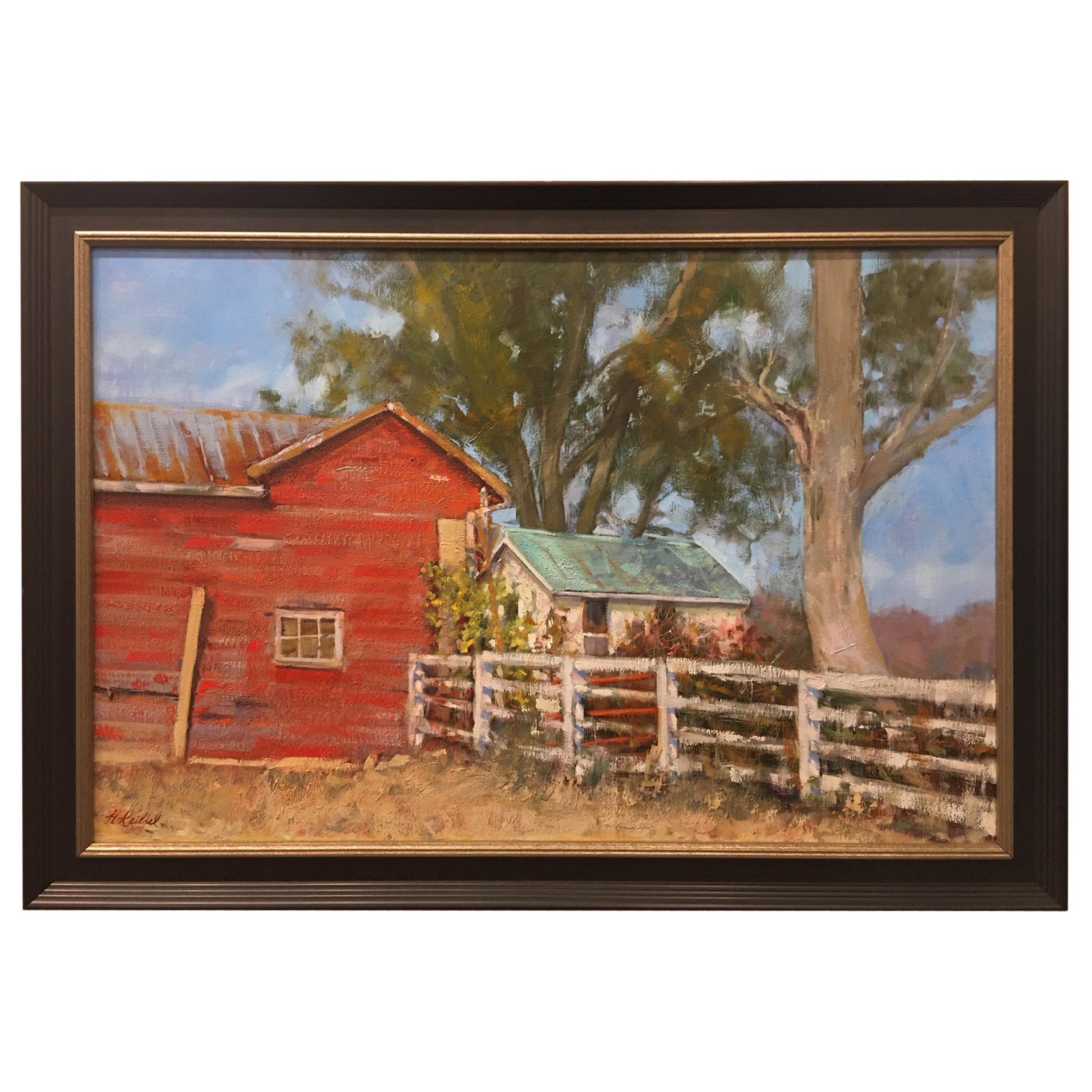 """Oil on Canvas Painting """"Summer at the Farm"""" Red Barn, Michael Reibel"""