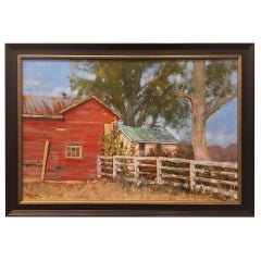 "Oil on Canvas Painting ""Summer at the Farm"" Red Barn, Michael Reibel"