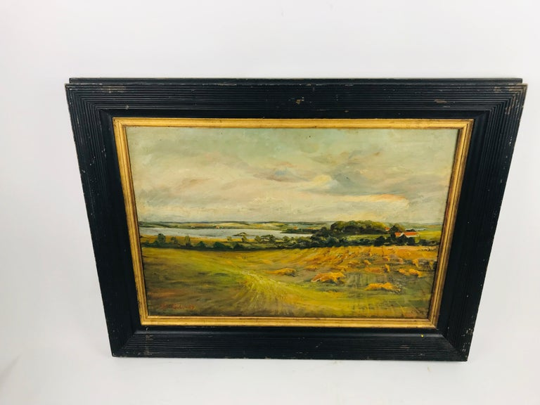 German Oil on Canvas Pastoral Scene by Am. Listed Artist Alfred George Pelikan For Sale