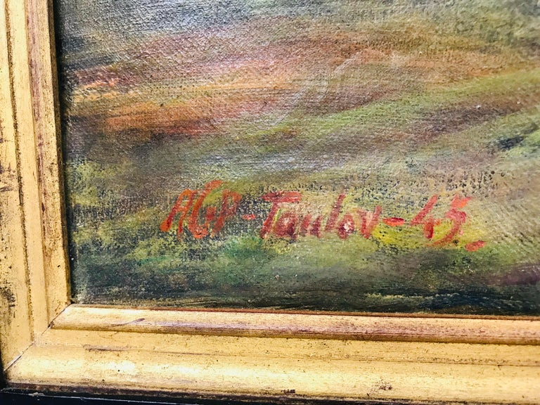 Painted Oil on Canvas Pastoral Scene by Am. Listed Artist Alfred George Pelikan For Sale