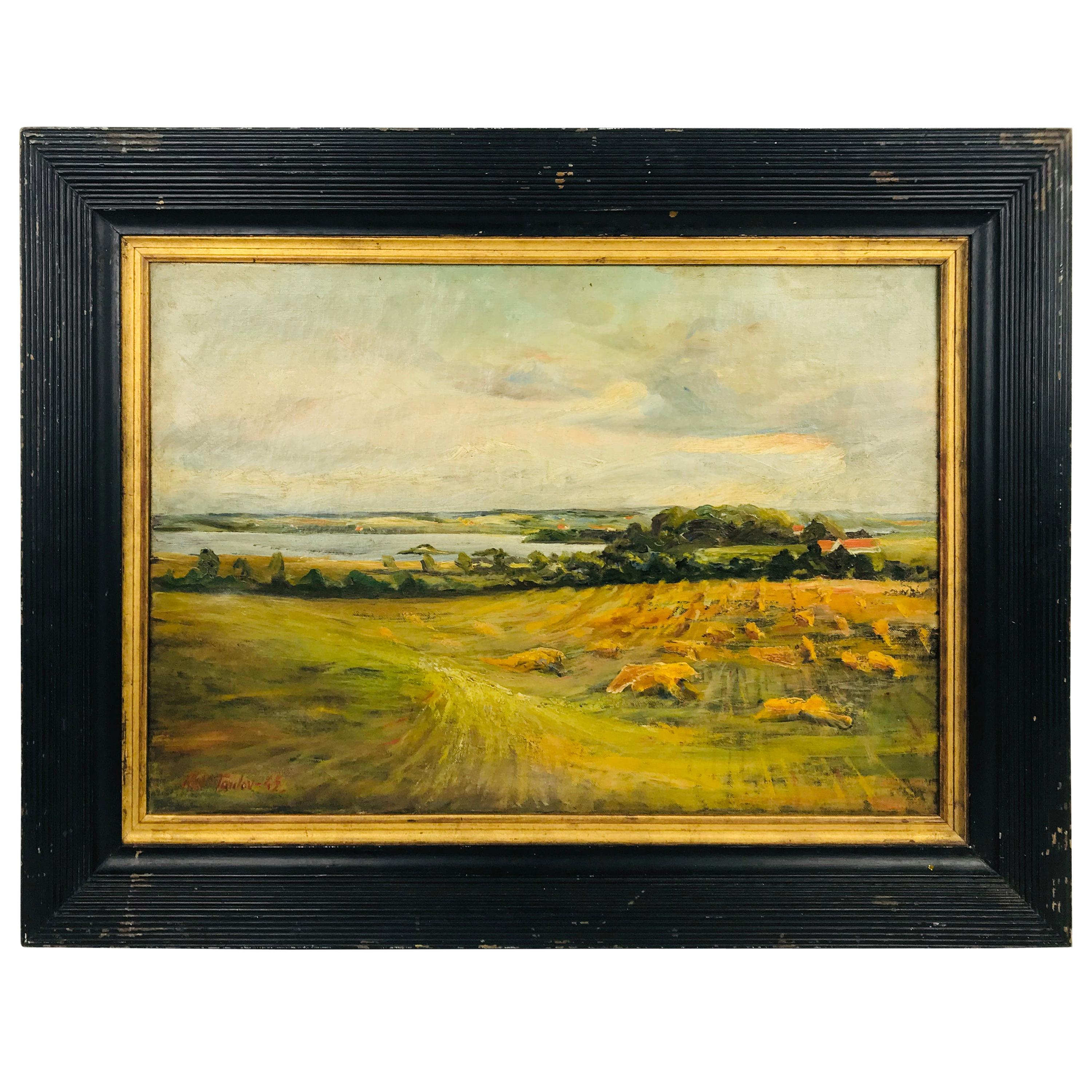 Oil on Canvas Pastoral Scene by Am. Listed Artist Alfred George Pelikan