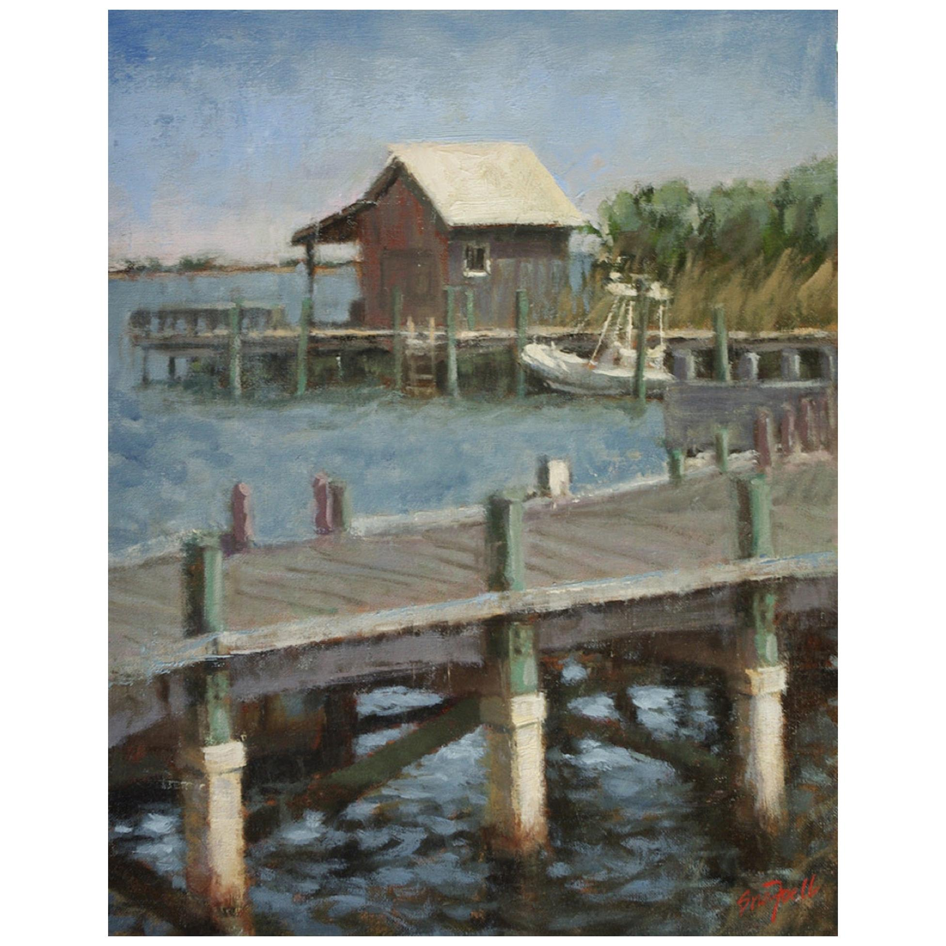 """Oil on Canvas """"Pier to the Boathouse"""" by Sue Foell"""