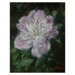 """Oil on Canvas """"Pink Peony"""" Scene of a Peony Flower by Sue Foell"""