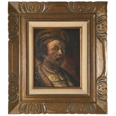 Oil on Canvas Portrait of a Medieval Man Signed Costello