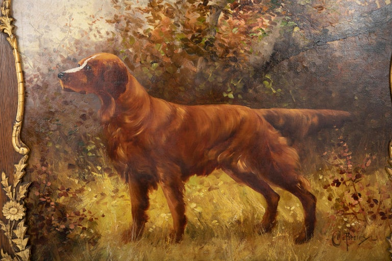 Baroque Oil on Canvas Portrait of a Setter or Golden Retriever Signed Clarence E. Braley For Sale