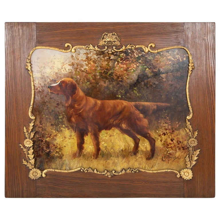 Oil on Canvas Portrait of a Setter or Golden Retriever Signed Clarence E. Braley For Sale