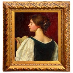 Oil on Canvas Portrait of a Young Woman by Ernest Lee Major