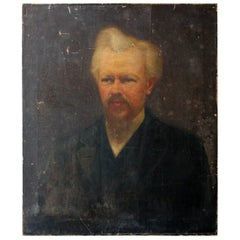 Oil on Canvas Portrait of the Minister Thomas Child, circa 1870