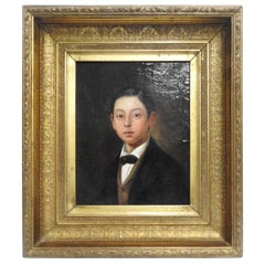 Oil on Canvas Portrait of Young Man in Gilt Frame
