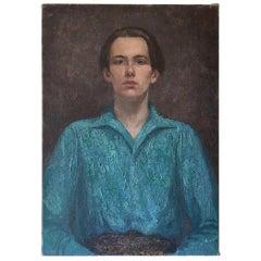Oil on Canvas, Portrait 'The Blue Shirt' by Rudolf Helmut Sauter