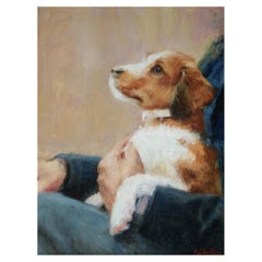 "Oil on Canvas ""Puppy Love"" Dog with Owner Scene by Sue Foell"
