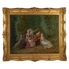 Oil on Canvas Romantic Scene XIXth Century