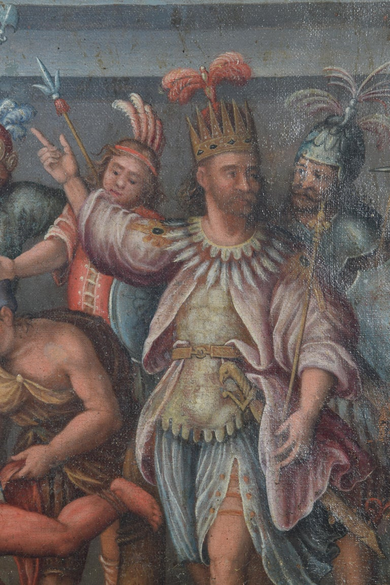 Oil on Canvas, sacrifice of soldiers of Hernán Cortés, colonial sch 17th Century In Good Condition In Madrid, ES