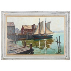 Oil on Canvas Seascape with Boats of Sag Harbor, NY, Artist Signed, circa 1973