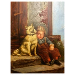 Oil on Canvas, Signed B.K. Johnson, Boy Asleep Holding His Dog on Step, 1800s