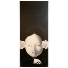 Oil On Canvas Signed TONG Zhengang, Chinese, Woman In Black And White