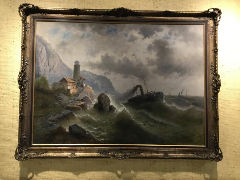 """Oil on Canvas """"steamship in a stormy Sea"""" 1850 Attributed to Albert Rieger For Sale 3"""