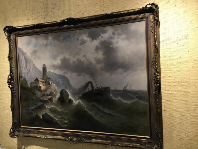 """Oil on Canvas """"steamship in a stormy Sea"""" 1850 Attributed to Albert Rieger For Sale 4"""
