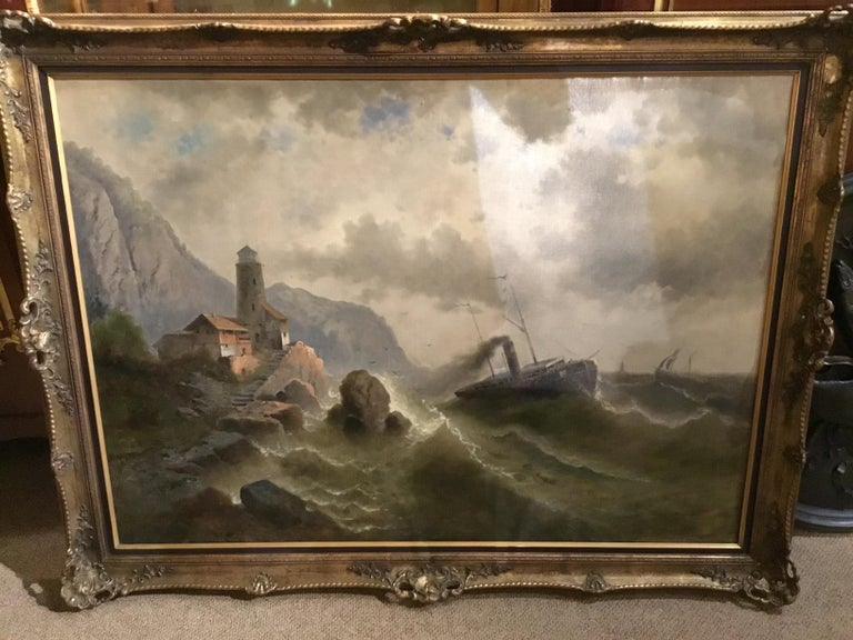 """Swiss Oil on Canvas """"steamship in a stormy Sea"""" 1850 Attributed to Albert Rieger For Sale"""