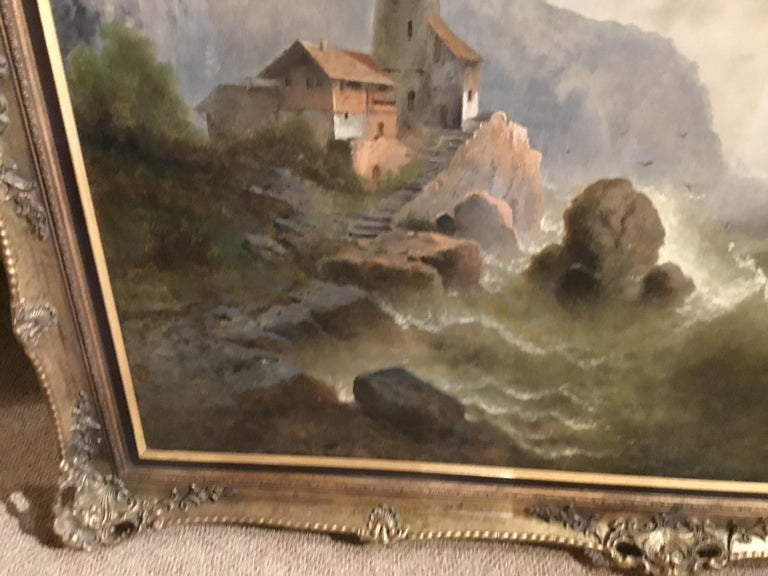 """Hand-Painted Oil on Canvas """"steamship in a stormy Sea"""" 1850 Attributed to Albert Rieger For Sale"""
