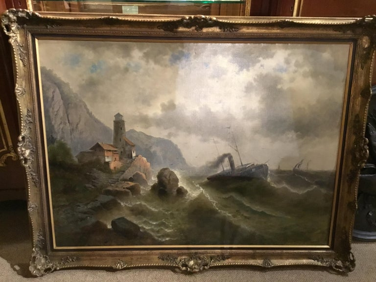 """Oil on Canvas """"steamship in a stormy Sea"""" 1850 Attributed to Albert Rieger In Good Condition For Sale In Houston, TX"""