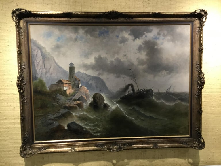 """19th Century Oil on Canvas """"steamship in a stormy Sea"""" 1850 Attributed to Albert Rieger For Sale"""