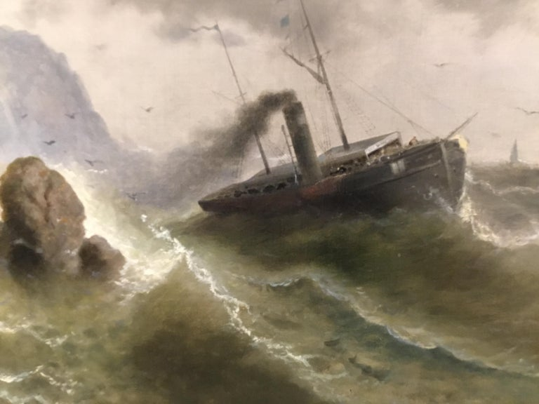 """Paint Oil on Canvas """"steamship in a stormy Sea"""" 1850 Attributed to Albert Rieger For Sale"""