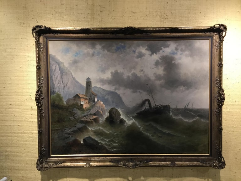"""Oil on Canvas """"steamship in a stormy Sea"""" 1850 Attributed to Albert Rieger For Sale 2"""