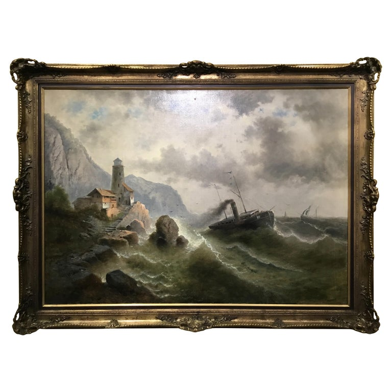 """Oil on Canvas """"steamship in a stormy Sea"""" 1850 Attributed to Albert Rieger For Sale"""