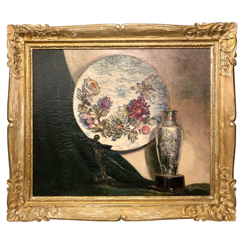 """Oil on Canvas Still Life """"Art Objects"""" 1944 NY"""
