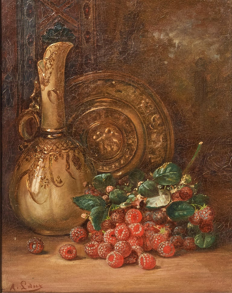 Beautifully rendered by a master of still life paintings, August Laux, depicts a brass plate and ewer and a bunch of raspberries. Painting measures 13 3/4