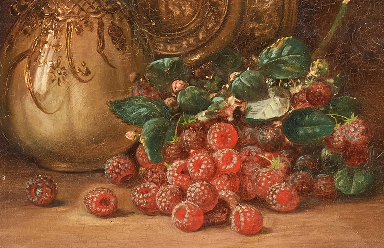 North American Oil on Canvas Still Life August Laux 'Germany/US' 1853-1921 Raspberries and Ewer For Sale