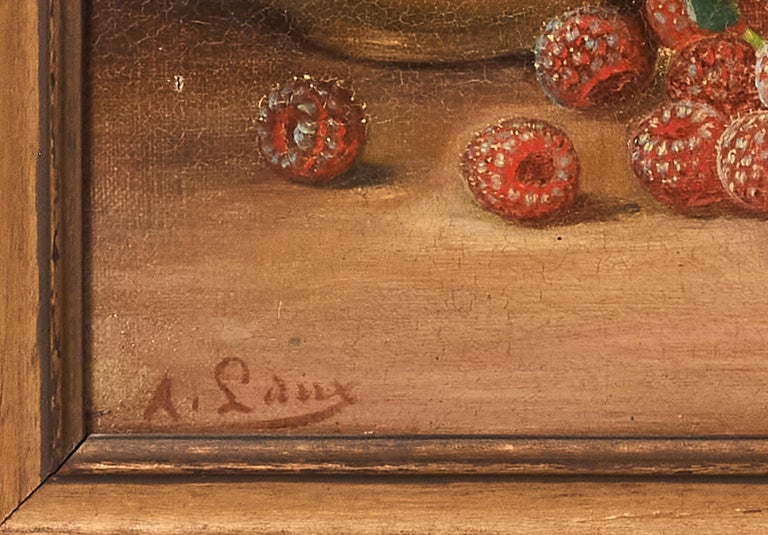 Oil on Canvas Still Life August Laux 'Germany/US' 1853-1921 Raspberries and Ewer In Good Condition For Sale In Plymouth, MA
