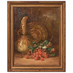 Oil on Canvas Still Life August Laux 'Germany/US' 1853-1921 Raspberries and Ewer