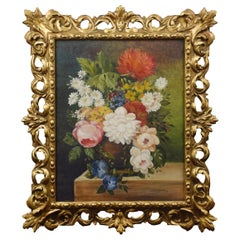 Oil on Canvas Still Life of Flowers