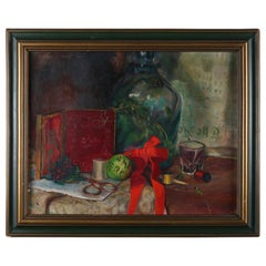 """Oil on Canvas Still Life Painting """"Ame Mercy"""" by Furman J. Finck, circa 1939"""