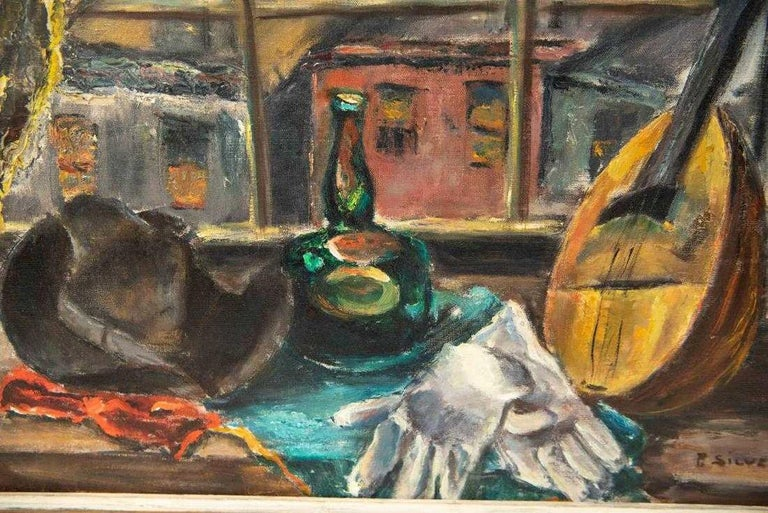 Post-Modern Oil-on-Canvas Still Life Painting by Pauline Silver For Sale