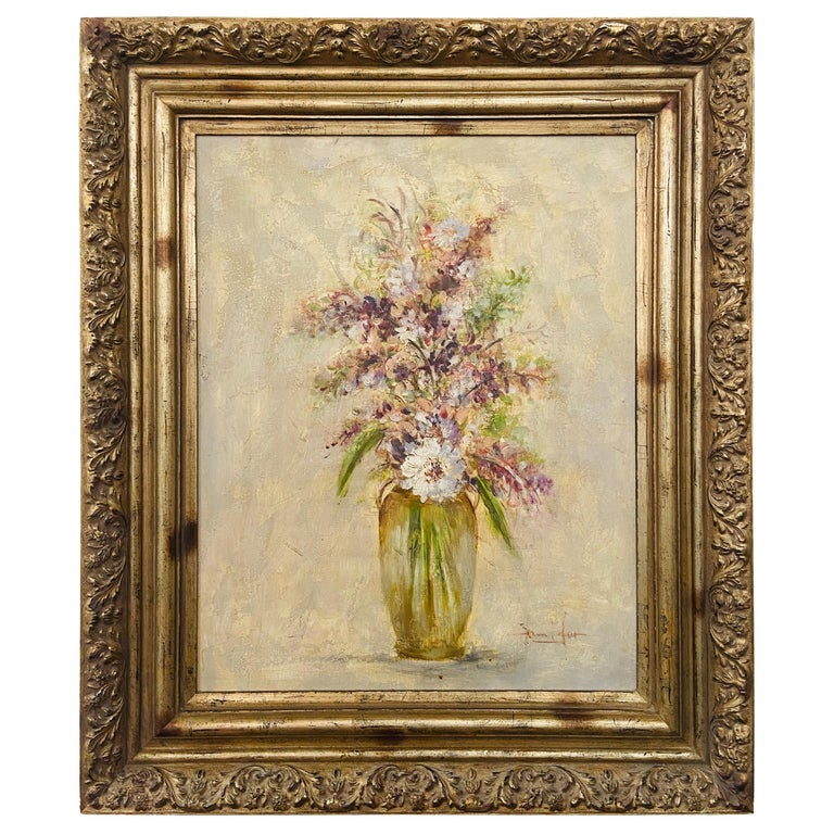 Oil on Canvas Still Life Painting of Flowers and Lavender Framed and Signed For Sale