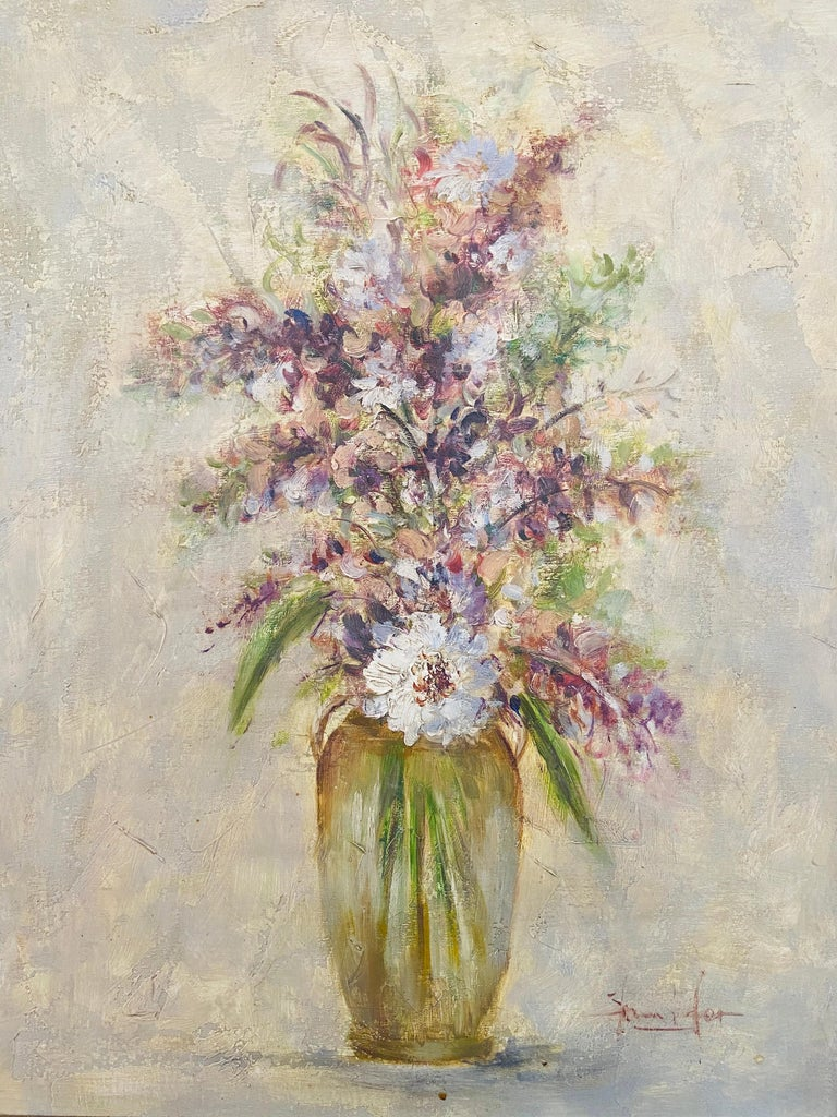 Modern Oil on Canvas Still Life Painting of Flowers and Lavender Framed and Signed For Sale