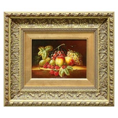 Oil on Canvas Still Life Painting of Fruit in Giltwood Frame, 20th Century