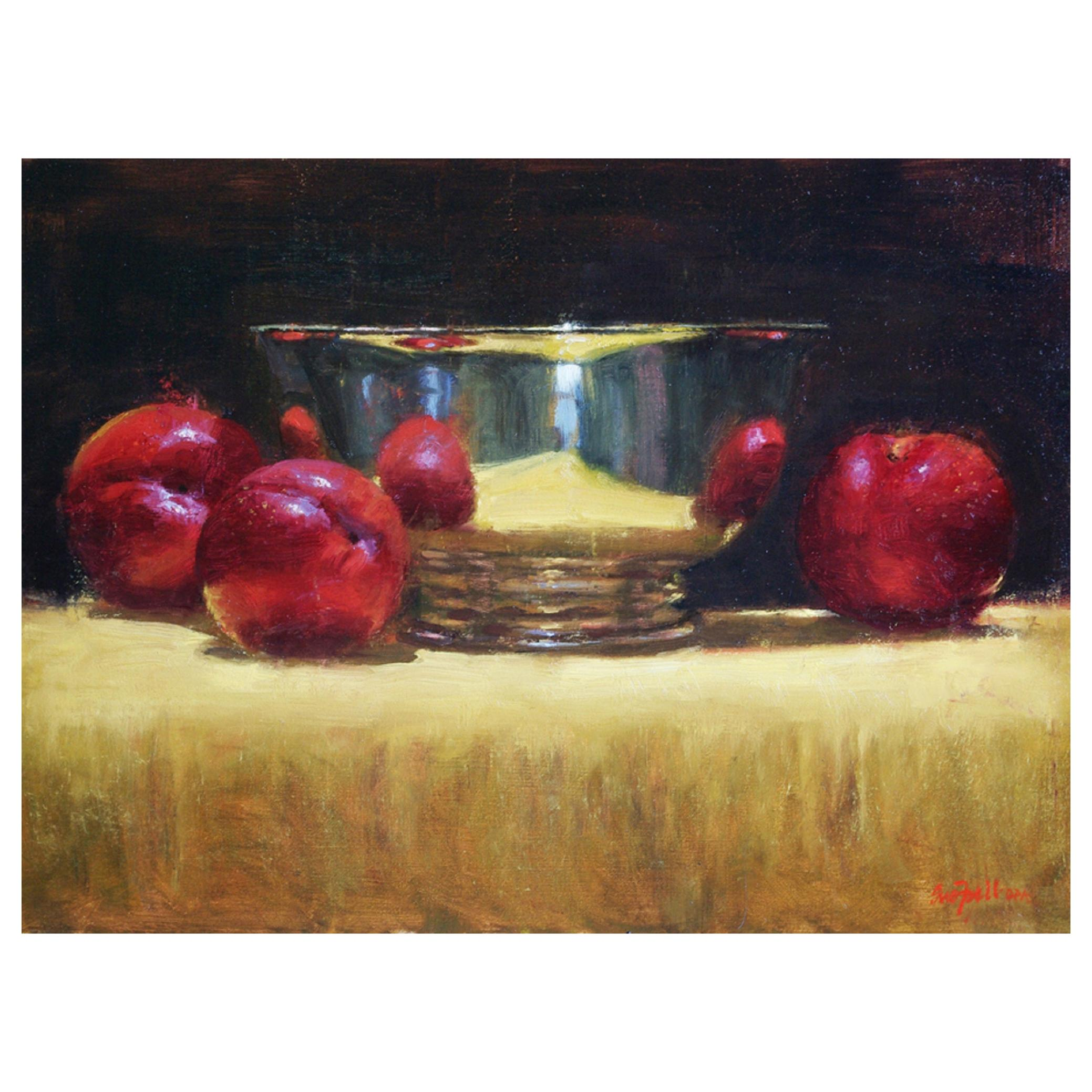 """Oil on Canvas Still Life """"Plums and Silver"""" by Sue Foell"""