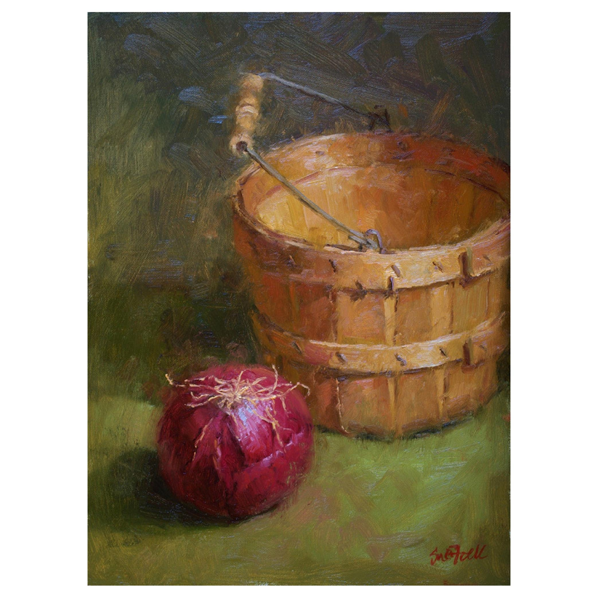 """Oil on Canvas Still Life """"Red Onion"""" by Sue Foell"""