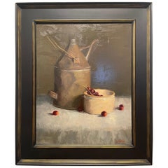 """Oil on Canvas Still Life """"the Old Oil Can"""" by Sue Foell"""