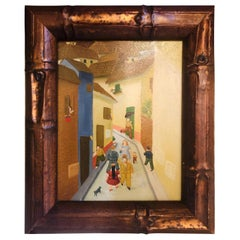 Oil on Canvas Street Scene, Framed