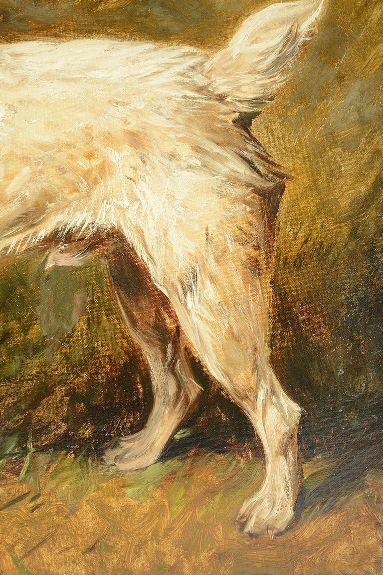 English Oil on Canvas 'Tiger the Terrier' by John Emms, 19th Century For Sale