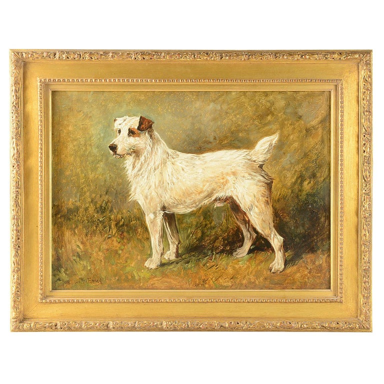 Oil on Canvas 'Tiger the Terrier' by John Emms, 19th Century For Sale