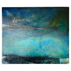 Oil on Canvas Titled Freeway/Train by Daniel Brice, 1984