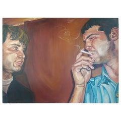 Oil on Canvas Two Men Smoking by Danielle Jaffe Ellason