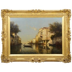 Oil on Canvas, Venetian Canal by Antonio Bouvard, 1910-1930